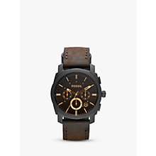 Buy Fossil FS4656 Men's Machine Chronograph Leather Strap Watch, Dark Brown/Black Online at johnlewis.com
