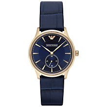 Buy Emporio Armani AR1848 Men's Alpha Leather Watch, Blue Online at johnlewis.com