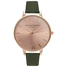 Buy Olivia Burton OB15BD56 Women's Big Dial Leather Strap Watch, Rose Gold/Green Online at johnlewis.com