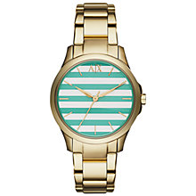 Buy Armani Exchange AX5233 Women's Hampton Gold Bracelet Watch, Green/Silver Online at johnlewis.com
