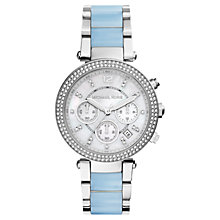 Buy Michael Kors MK6138 Women's Parker Stainless Steel Bracelet, Silver/Blue Online at johnlewis.com
