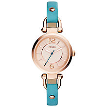 Buy Fossil ES3744 Women's Georgia Leather Strap Watch, Rose Gold/Blue Online at johnlewis.com