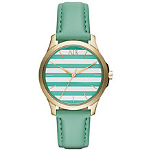 Buy Armani Exchange AX5237 Women's Hampton Leather Strap Watch, Green/Gold Online at johnlewis.com