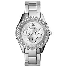 Buy Fossil ES3588 Women's Stella Stainless Steel Watch, Silver/White Online at johnlewis.com