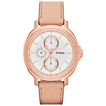 Buy Fossil ES3358 Women's Chelsey Multifunction Leather Strap Watch, Sand Online at johnlewis.com