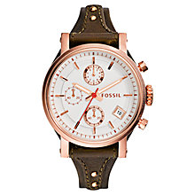 Buy Fossil ES3616 Women's Original Boyfriend Chronograph Leather Strap Watch, Brown/White Online at johnlewis.com