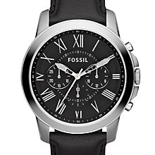 Buy Fossil FS4812 Men's Grant Chronograph Leather Strap Watch, Black Online at johnlewis.com