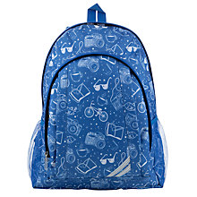 Buy John Lewis Children's Activities Print School Back Pack, Navy Online at johnlewis.com