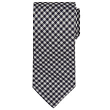Buy BOSS Checked Silk Tie, Black/Silver Online at johnlewis.com