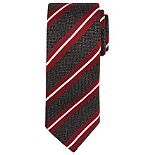 Buy BOSS Stripe Silk Tie, Charcoal/Burgundy Online at johnlewis.com