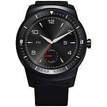 Buy LG G Watch R Smartwatch, Android Wear, Leather Strap, Black Online at johnlewis.com