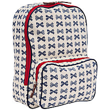 Buy Pink Lining Navy Bows on Cream Rucksack, Navy/Cream Online at johnlewis.com