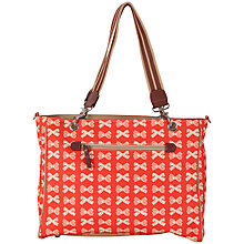 Buy Pink Lining Bramley Tote Bow Changing Bag, Red/Cream Online at johnlewis.com