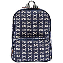 Buy Pink Lining Bow Print Changing Rucksack, Navy/Cream Online at johnlewis.com