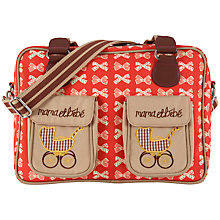 Buy Pink Lining Mama Et Bebe Bow Print Changing Bag, Red/Cream Online at johnlewis.com