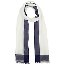 Buy John Lewis Cotton Border Scarf, White/Navy Online at johnlewis.com