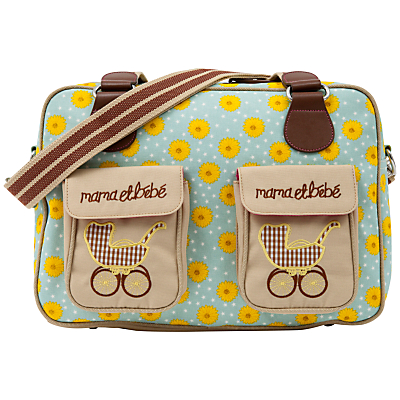 Pink Lining Yummy Mummy Sunflower Print Changing Bag YellowBlue