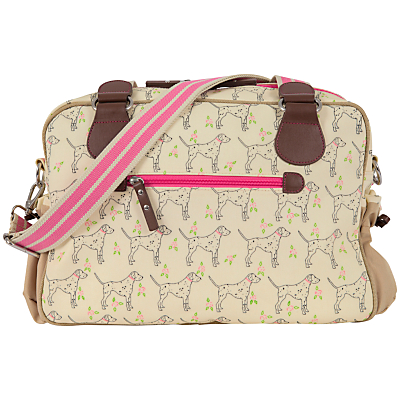 Pink Lining Not So Plain Sam Dalmatian Print Changing Bag Beige