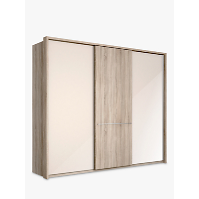 John Lewis Treviso 250cm Wardrobe with Glass and Light Rustic Oak Sliding Doors