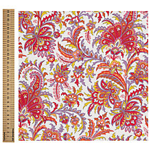 Buy John Lewis Paisley Print Fabric, Bright Red Online at johnlewis.com