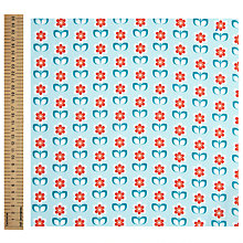 Buy John Lewis Floral Print Fabric, Blue/Red Online at johnlewis.com
