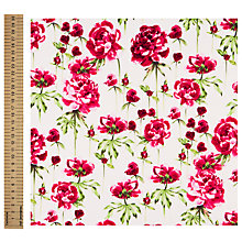Buy John Lewis Peony Print Fabric, Fuchsia Online at johnlewis.com