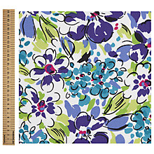 Buy John Lewis Pop Art Floral Print Fabric, Blue Online at johnlewis.com