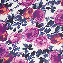 Buy John Lewis Sketched Roses Fabric, Purple Online at johnlewis.com