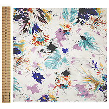 Buy John Lewis Sketchy Floral Print Fabric, Turquoise/Purple Online at johnlewis.com