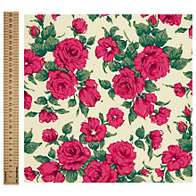 Buy John Lewis Rose Print Fabric, Hot Pink Online at johnlewis.com