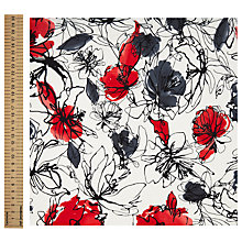 Buy John Lewis Sketch Flower Print Fabric, White/Red Online at johnlewis.com