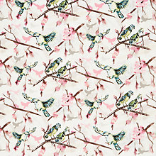 Buy John Lewis Bird and Branch Print Fabric, Cream/Pink Online at johnlewis.com