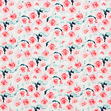Buy John Lewis Water Peony Print Fabric, Pink/Green Online at johnlewis.com