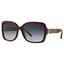Buy Burberry BE4160 Square Sunglasses, Bordeaux Online at johnlewis.com