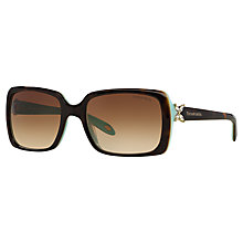 Buy Tiffany & Co TF4047B Rectangular Sunglasses, Brown/Blue Online at johnlewis.com