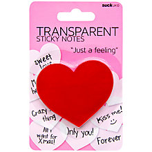 Buy Suck UK Transparent Sticky Notes, Heart Online at johnlewis.com