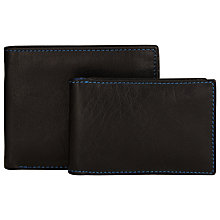 Buy John Lewis Leather Billfold Wallet And Travel Card Holder Gift Set, Black Online at johnlewis.com
