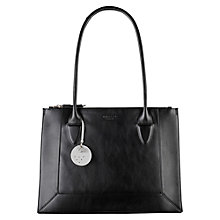 Buy Radley Border Double Zip Top Leather Tote Bag, Black Online at johnlewis.com