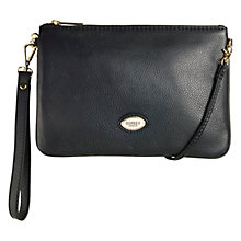 Buy OSPREY LONDON Beaula Pouch Leather Wristlet Bag, Black Online at johnlewis.com