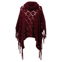Buy East Fringe Mohair Poncho, Dark Red Online at johnlewis.com