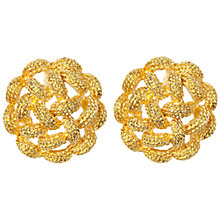 Buy Susan Caplan Vintage 1970s Monet Gold-Plated Woven Round Earrings, Gold Online at johnlewis.com