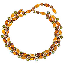 Buy Susan Caplan Vintage 1950s Vintage Kramer Swarovski Crystals Floral Necklace, Orange/Green Online at johnlewis.com