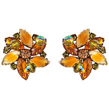 Buy Susan Caplan Vintage 1950s Vintage Kramer Swarovski Crystal Floral Earrings, Orange Online at johnlewis.com