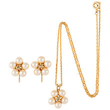 Buy Susan Caplan Vintage 1970s Hobé Faux Pearl Flower Necklace and Earrings Set Online at johnlewis.com