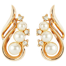 Buy Susan Caplan Vintage 1940 Trifari Gold-Plated Swirling Faux Pearl Earrings, Silver Online at johnlewis.com