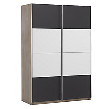 Buy House by John Lewis Mix it 150cm Sliding Door Wardrobe, Gloss House Steel and Mirror/Grey Ash Online at johnlewis.com