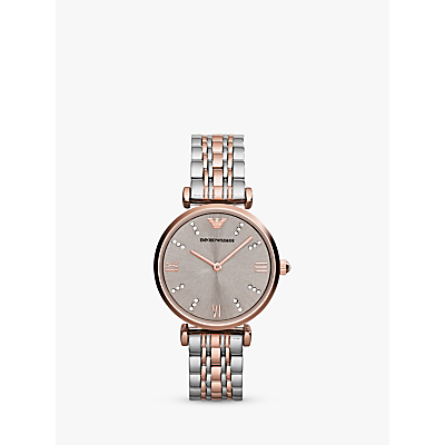 Emporio Armani AR1840 Women's Two Tone Bracelet Strap Watch, Silver/Rose Gold