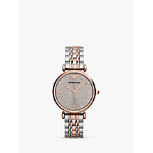 Buy Emporio Armani Ar1840 Women's Gianni T-Bar Stainless Steel Watch, Silver/Rose Gold Online at johnlewis.com