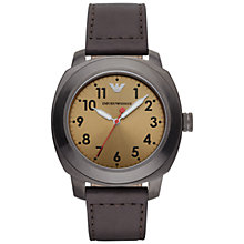 Buy Georgio Armani Ar6058 Men's Delta Leather Watch, Brown/Beige Online at johnlewis.com