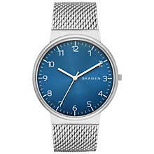 Buy Skagen SKW6164 Men's Ancher Steel Mesh Bracelet Watch, Silver/Blue Online at johnlewis.com